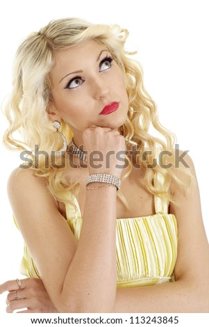 Striking blonde with a bright appearance on a white background