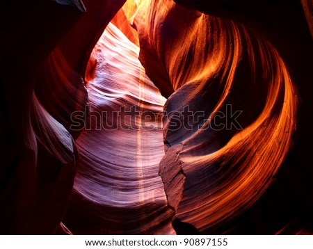 Striking colors of Antelope Canyon in northern Arizona, United States - stock photo
