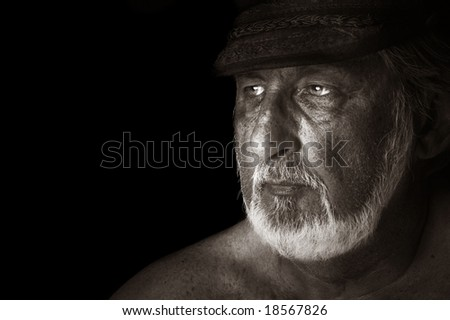 Striking Image of a sea captain On Black