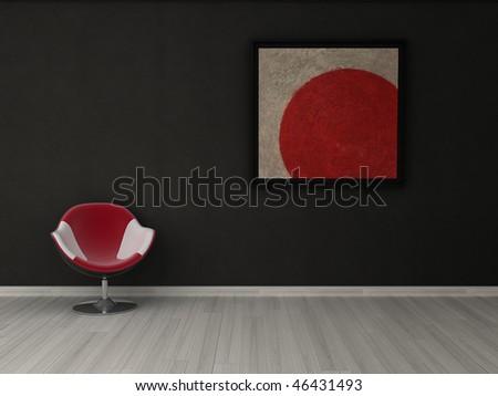 Striking minimalist interior visualisation featuring bold painting. - stock photo