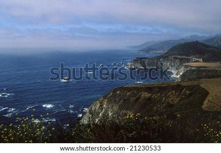Striking view of northern California coastline with heavy cloud cover and unique coloring