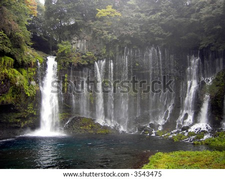 Striking White Thread Falls, near Mt. Fuji in Japan - stock photo