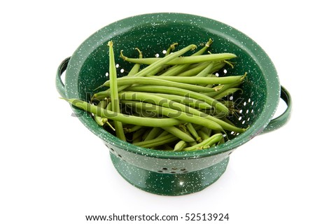 String beans as healthy vegetables isolated over white - stock photo