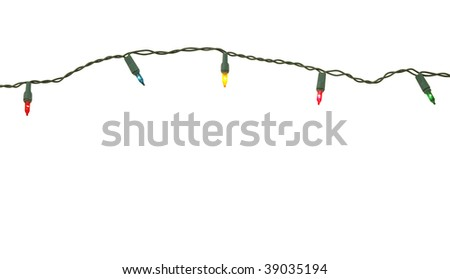 String of christmas lights isolated - stock photo