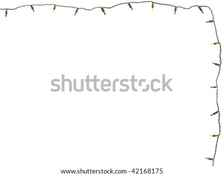 string of christmas lights isolated on white - stock photo