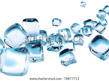 string of ice cube isolated on white background - stock photo