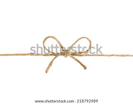 string or twine tied in a bow isolated on white background - stock photo