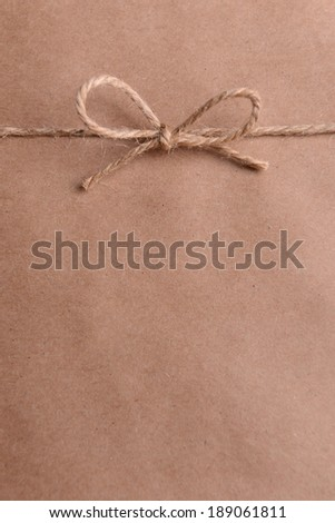 String tied in  bow on brown paper packaging close-up - stock photo