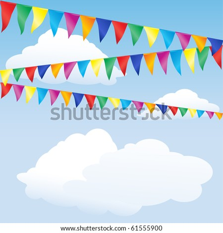 Strings of bunting against sky. Space for your text. Also available in vector format - stock photo