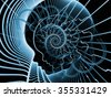 Strings of Soul Gears of Mind series. Composition of human profiles and fractal lines on the subject of Mind, Soul, Reason and mental life - stock photo
