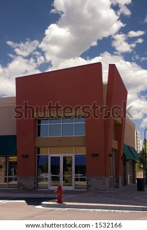 Strip Mall - Corner Store Restaurant - stock photo