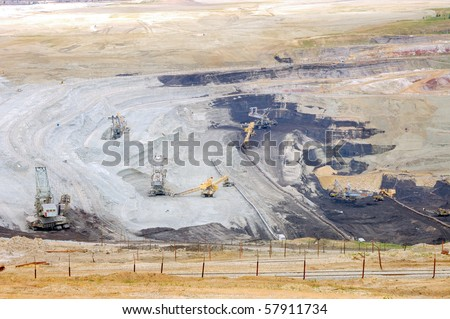 Strip mine with brown coal - stock photo