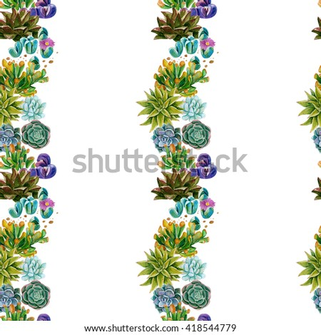 strip seamless pattern with watercolor succulents - stock photo