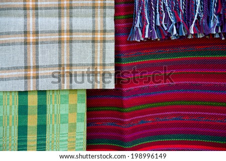 Stripe and tartan Linen fabric, national craft and background Baltic region