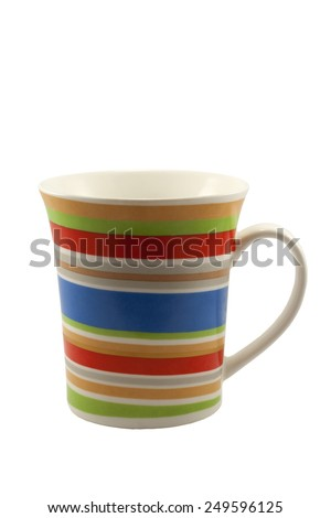 Stripe color mug isolated on white background - stock photo
