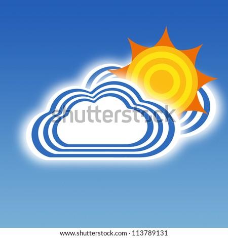 Stripe design Cloud and Sun, Weather set - stock photo