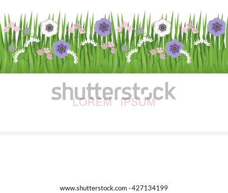 Stripe of grass, grass and flowers. Pattern for a banner with grass and flowers - stock photo