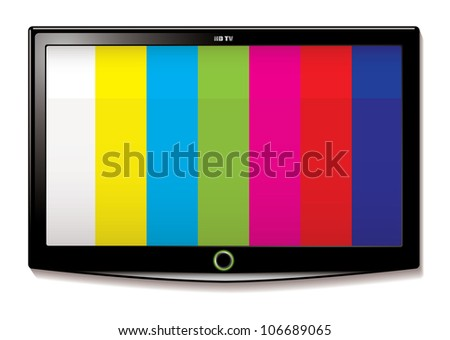 Stripe test screen on modern LCD television mounted on wall - stock photo