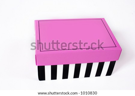 striped and pink box - stock photo
