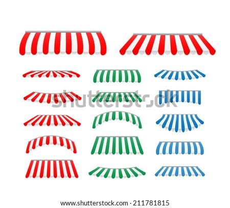 Striped awnings set, illustration - stock photo