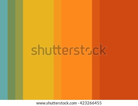 Striped Background, bright tomato red/orange/gold with green and turquoise accents, vertical stripes, color palette - stock photo