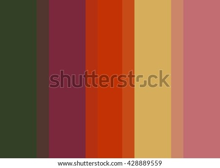 Striped Background in autumn green/wine/orange/gold/rose, vertical stripes, color palette background  - stock photo