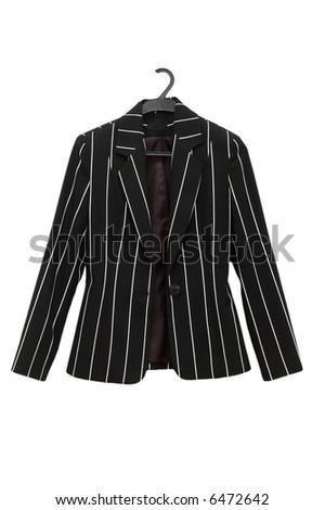 Striped black jacket isolated on the white - more similar photos in my portfolio - stock photo