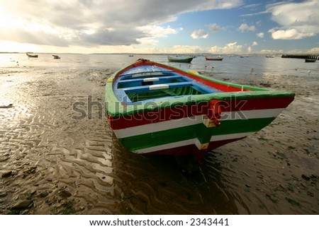Striped Boat - stock photo