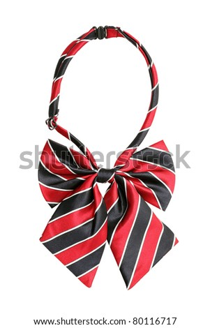 Striped bow tie for women, isolated on white - stock photo
