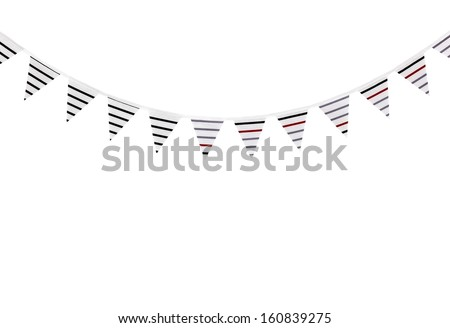 Striped bunting flags, isolated on white background. - stock photo
