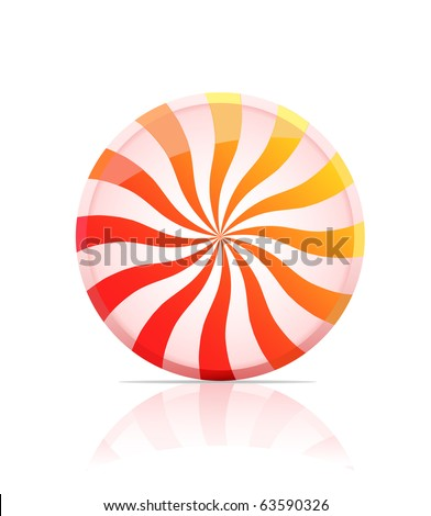 striped candy icon.  illustration of lollipop isolated on white background - stock photo