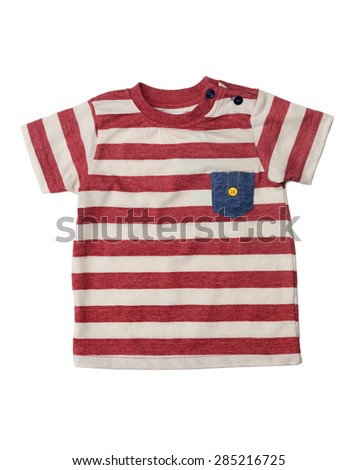 Striped children's shirt with a denim pocket. Isolate on white. - stock photo
