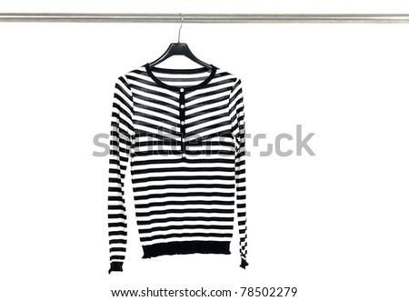 striped clothes on a hanger - stock photo