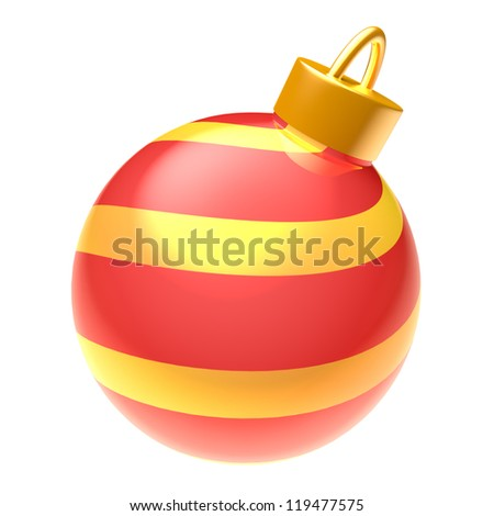 Striped glossy blue 3D Christmas ball isolated on white background - stock photo