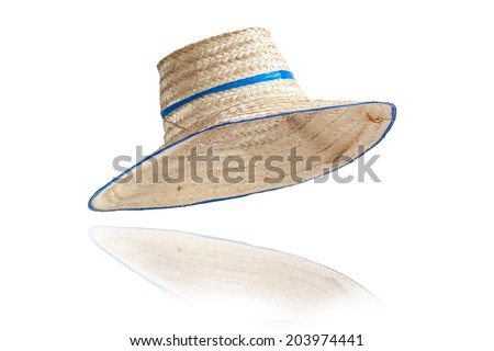 Striped hat made ??of woven bamboo on white background. - stock photo