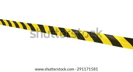 Striped Hazard Tape Line at Angle - stock photo