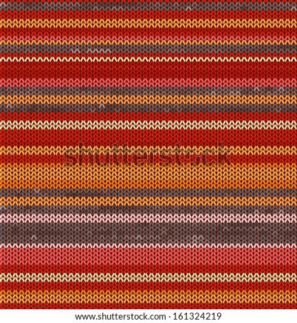 Striped Knit Seamless Pattern with warm colors, illustration - stock photo