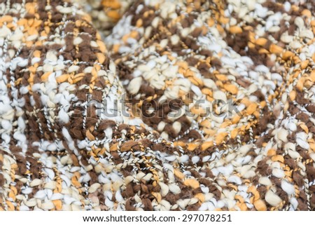 Striped knitted woollen scarf - stock photo