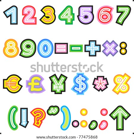 striped letters alphabet set part 2 numerals marks of punctuation math and