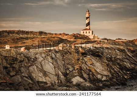 Striped Lighthouse on the coast