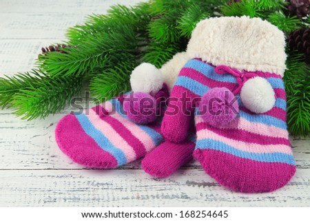 Striped mittens with fir branches on wooden background