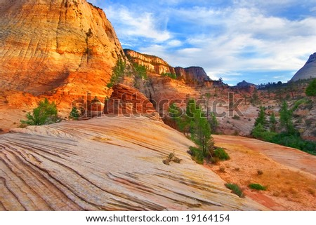 Striped mountains in National park Yosemite in the USA - stock photo