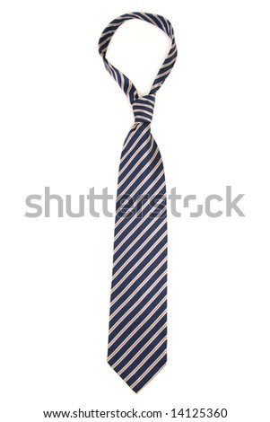 Striped necktie on white - stock photo