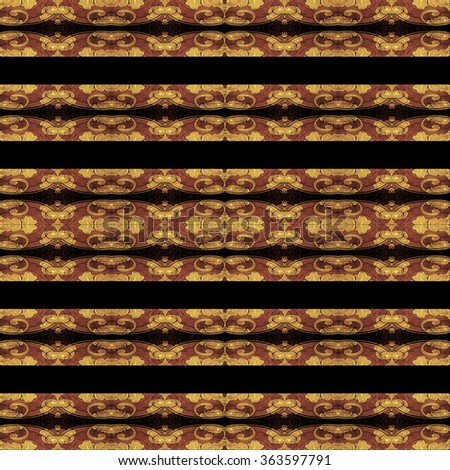 Striped ornate decorated pattern background in pale orange colors and black background.