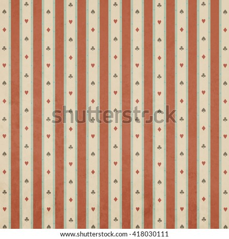 Striped pastel background with elements of card suit.  - stock photo