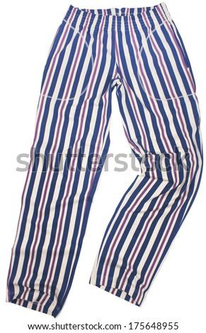 Striped pijama sweatpants isolated on white background - stock photo
