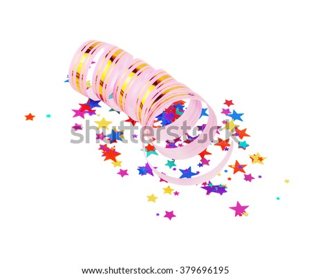 Striped pink ribbon and multicolored stars shaped confetti isolated on white background - stock photo