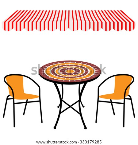 Striped red and white shop window awning and vintage outdoor table and chairs.Round table and chairs raster - stock photo