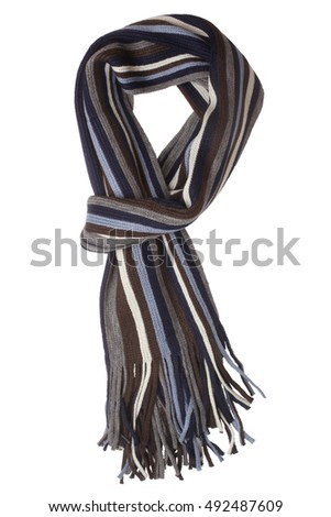 Striped scarf isolated on white background