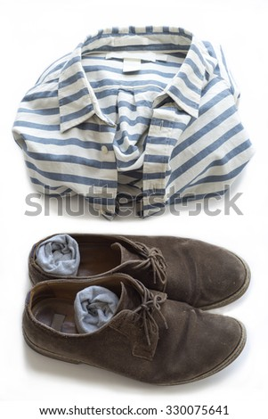 Striped shirt, shoes and socks